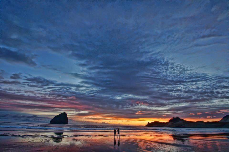 Wedding Ceremony location with Sunset over Haystack Rock and Cape Kiwanda
