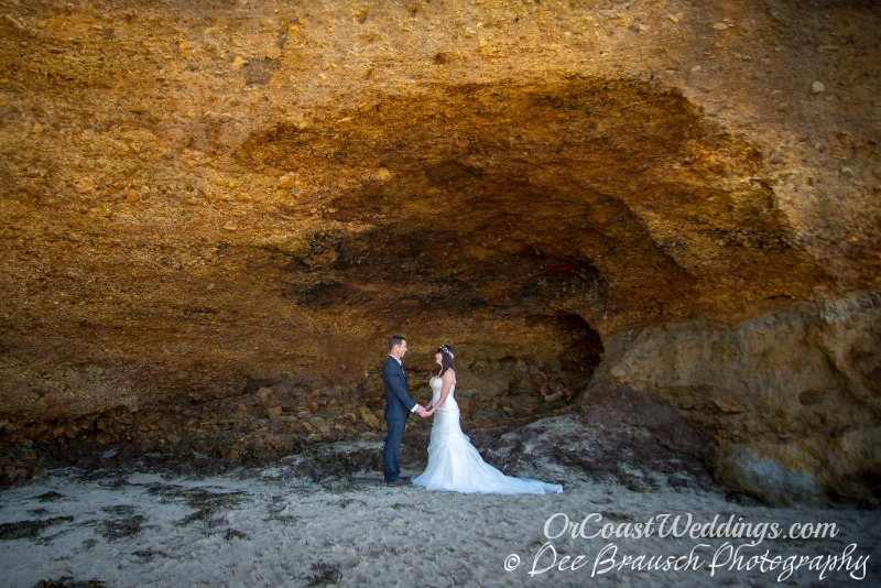 wedding couple in cave at Cape Lookout State Park