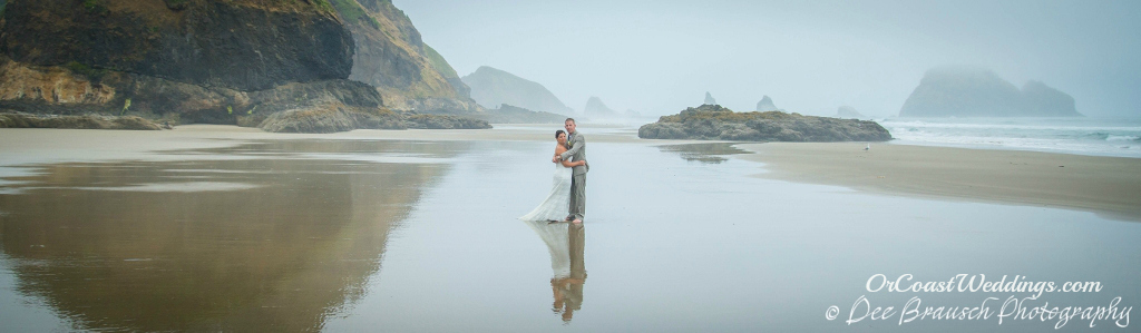 bride and groom on Oregon beach