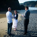 Oregon Coast officiant performing ceremony at Secret Beach