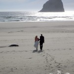 Romantic After ceremony stroll near Haystack Rock