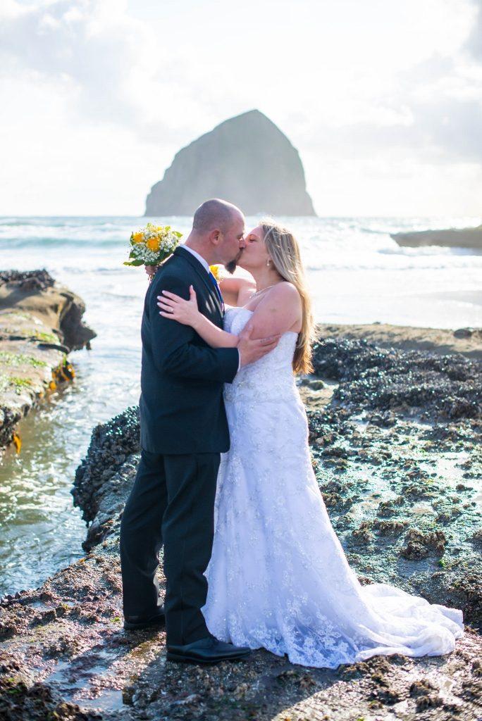 Oregon coast wedding couple at Haystack Rock