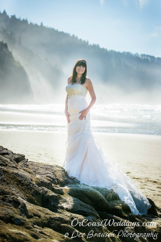 Bride in white wedding dress on