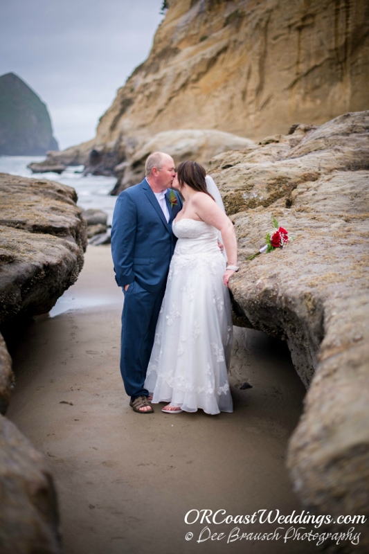 A Wedding Kiss at Haystack Rock in Pacific City