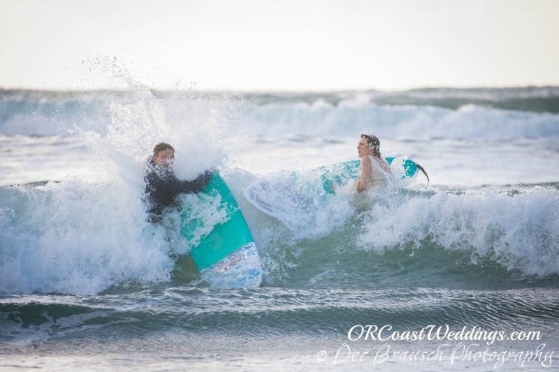Joseph & Meryl Elopement Surfing at Cape Kiwanda