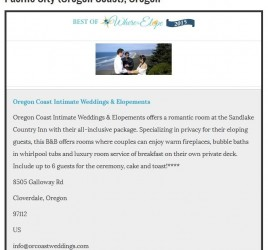 Best Place to Elope in Oregon Award
